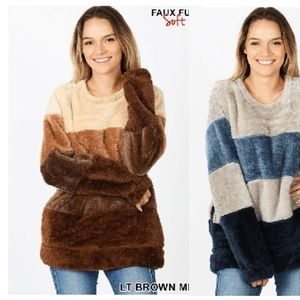 NEW PLUS BROWN TAUPE FAUX FUR PULLOVER SWEATER TOP